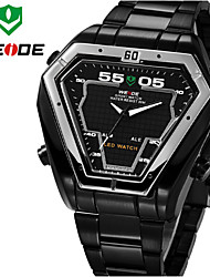 WEIDE Men Luxury Sports Triangle Shape Analog & Digital LED Display Full Black Stainless Steel Wrist Watch