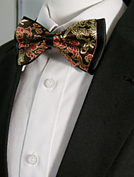 Men's Black Yellow Red Floral Bow Tie Pre-tied Dress Wedding Blend Ajustable SilkBlend Wedding