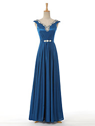 Formal Evening Dress A-line V-neck Floor-length Satin with Beading