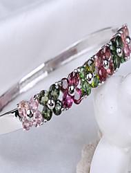 S925 Sterling Silver Inlay Natural Tourmaline Bracelet Opening Un-locked Bracelet