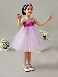 Ball Gown Knee-length Flower Girl Dress - Tulle Sleeveless Strapless with