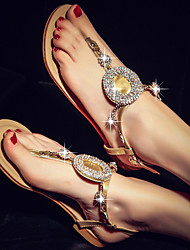 Women's Shoes Faux Leather Low Heel Heels Sandals Dress/Casual Black/Gold