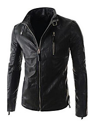 Men's Pure Color Cultivate One's Morality Short Leather Coat PU