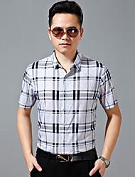 Men's Casual/Work/Formal/Sport Plaids & Checks Short Sleeve Regular Shirts (Cotton)8505