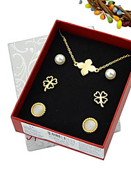 New Comimg Cheap Gold Plated Flower Shaped Necklace Earrings Fashion Jewelry Set