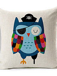 Modern Style Cartoon Owl Patterned Cotton/Linen Decorative Pillow Cover