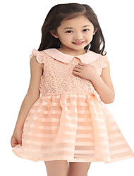 Kids Girls Sleeveless Doll Collar Bow Belt Stripes Mesh Princess Party Dresses (Chiffon/Cotton Blends)