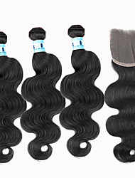4Pcs/Lot Virgin Brazilian Body Wave Hair Extensions 3 Bundles Unprocessed Human Hair Weave With 1Pcs Lace Closure