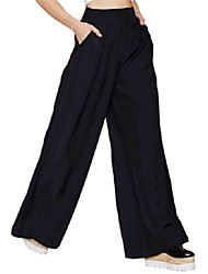 2015 Summer Style Brief Fashion Women Pants High Waist Solid Black Loose Wide Leg Pants for Women