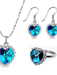 T&C Women's Classic 18k White Gold Plated the Heart of Ocean Blue Crystal Ring Necklace and Earrings Jewelry Set