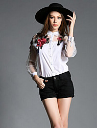 TS Women's Fashion Simplicity Splicing Embroidery Shoet Sleeve Blouse(Organzar)