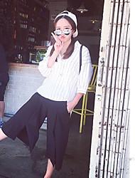 De las mujeres Camisa Escote Chino - Raso - Manga Corta