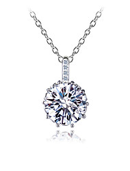 Gorgeous Women's Silver Alloy with Clear Crystals Wedding Jewelry Cubic Zirconia Necklace (with Gift Box)