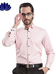 100% Cotton Light Pink Men Shirts Black Button Long sleeve Pure Color  Printed Inner of Shoulder Collar Cuff(6205)