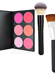 Pro Party 6 Colors Face Blush Blusher Powder Palette +2 Powder Brush