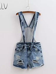 Women's Casual Inelastic Sleeveless Short Pant (Denim/Cotton Blends)