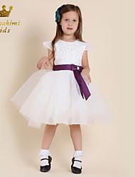Girl White Glitter Grenadine Purple Soutache Embellished Tie Holiday Dress