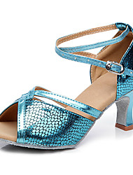 Non Customizable Women's Dance Shoes Belly/Latin/Salsa/Samba Leatherette/Sparkling Glitter/Synthetic Stiletto Heel