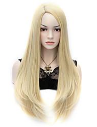 """27.6 """"70cm светлый блондин П сексуальная длинные прямые волосы аниме косплей костюм партии полные парики"""
