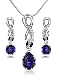 T&C Women's Lovely 18K White Gold Plated Black Eyes Snake Purple Crystal Pendant Necklace Earring Jewelry Sets
