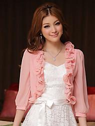 Hochzeitsverpackungen Chiffon / Polyester süße elegante Spitze Boleros weiß / pink bolero Achselzucken