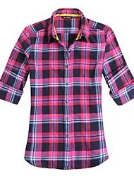 JAMES Autumn Women's  Flannel Long Sleeve Shirt/ Blouse with Blue-Black-Pink Plaids & Checks Casual Fashion