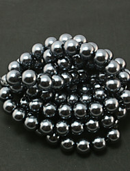 Beadia 2 Str(approx 230pcs) Glass Beads 8mm Round Imitation Pearl Beads Black Color DIY Spacer Loose Beads