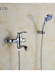 KALUD Wall Mount Contemporary Style Chrome Finish Brass Tub Faucets