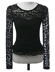 Women's Black Flouncing Hemline Long-sleeve Lace Top