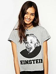 Camisetas ( Algodón Compuesto )- Cosecha/Casual Redondo Manga Corta para Mujer