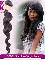 "1pcs/lot 12""-30"" Unprocessed 6A Brazilian Virgin Natural Black Loose Curl Human Hair 100% Human Hair Weaves Thick&Soft"