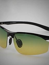 Gafas de Sol hombres's Ligeras Envuelva Negro / Plata / Gris Gafas de Sol / Conducción / Gafas de visión nocturna Media Montura