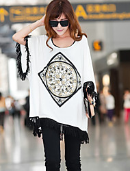Women's Casual Micro-elastic ¾ Sleeve Long Blouse (Cotton Blends)