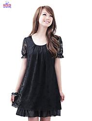 Women Ladies Summer Lace Plus Size Short Sleeves Dresses Clothes