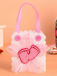 Pink Color Non Woven Fabric Baby Shower Candy Favor Bags Baby Footprint Set of 12