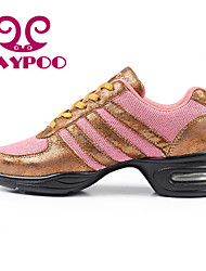Non Customizable Women's Dance Shoes Dance Sneakers/Modern/Gymnastics Leather/Fabric Chunky Heel Pink/Gold