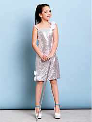Lanting Bride® Short / Mini / Knee-length Sequined Junior Bridesmaid Dress Sheath / Column Spaghetti Straps Dropped withFlower(s) /