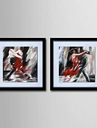 pintura a óleo decoração caráter abstrato mão telas pintadas com esticada enquadrado - conjunto de 2