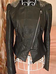 Women's Epaulettes Pu Leather Jacket