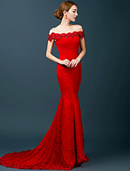 Formal Evening Dress - Ruby Trumpet/Mermaid Off-the-shoulder Chapel Train Lace
