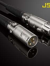 jsj® 5m 16.4ft XLR mâle à femelle câble micro plaqué or noir pour KTV
