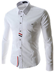 Men's Shirt Collar Casual Shirts , Cotton Blend Long Sleeve Casual Fashion All Seasons WHAT LEES