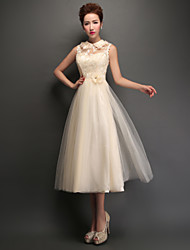 Tea-length Tulle Bridesmaid Dress - Champagne A-line High Neck