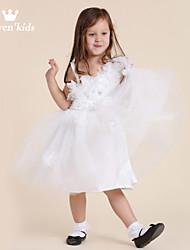 Girl White Tulle Applique Soutache Embellished Tie Wedding Dress