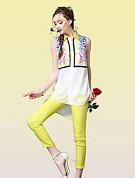 De las mujeres Camisa - Bordado Escote Chino - Raso - Sin Mangas