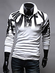 Men's Long Sleeve Polo , Others Casual Print