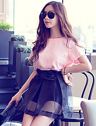 Pink Doll®Women's Round Neck Casual/Work Beaded Short Sleeve Short Blouse