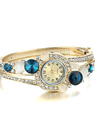 Sjeweler Girls Fashion Golden Blue CZ Diamond Wirst Watch