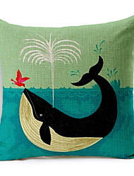 Stylish Cartoon Whale Patterned Cotton/Linen Decorative Pillow Cover