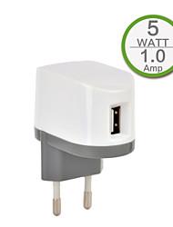 Certifié CE chargeur mural USB unique, prise face à l'Europe, la sortie de 1a 5v, pour l'iphone 5 / 5s / 5c iphone 6 / plus iphone 3 / 3G
